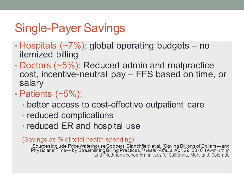 Single-Payer Savings Hospitals (~7%): global operating budgets – no itemized billing.