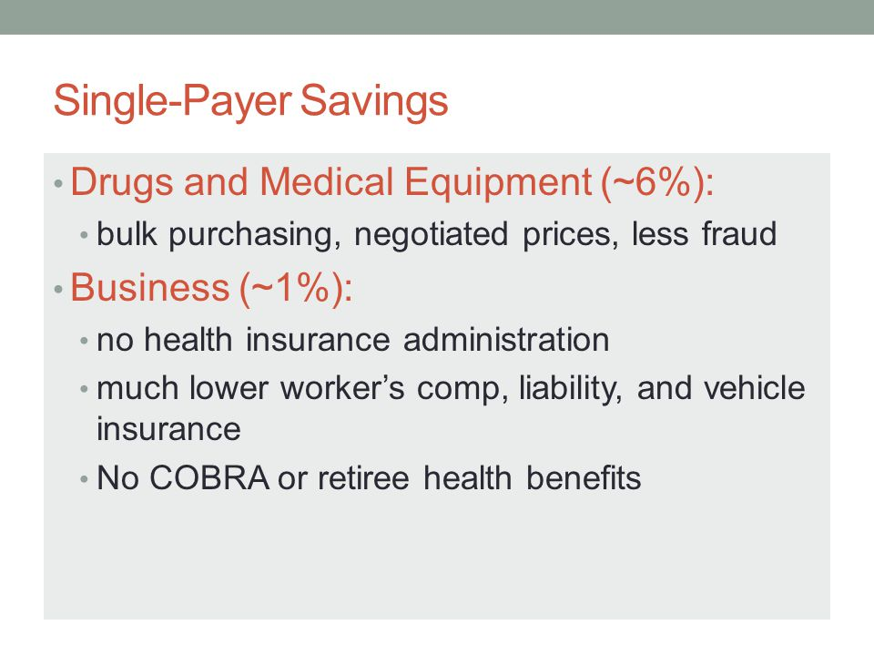 Single-Payer Savings Drugs and Medical Equipment (~6%):