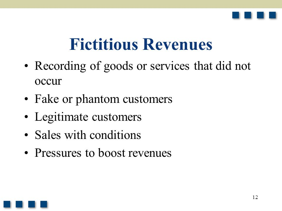 Fictitious Revenues Recording of goods or services that did not occur