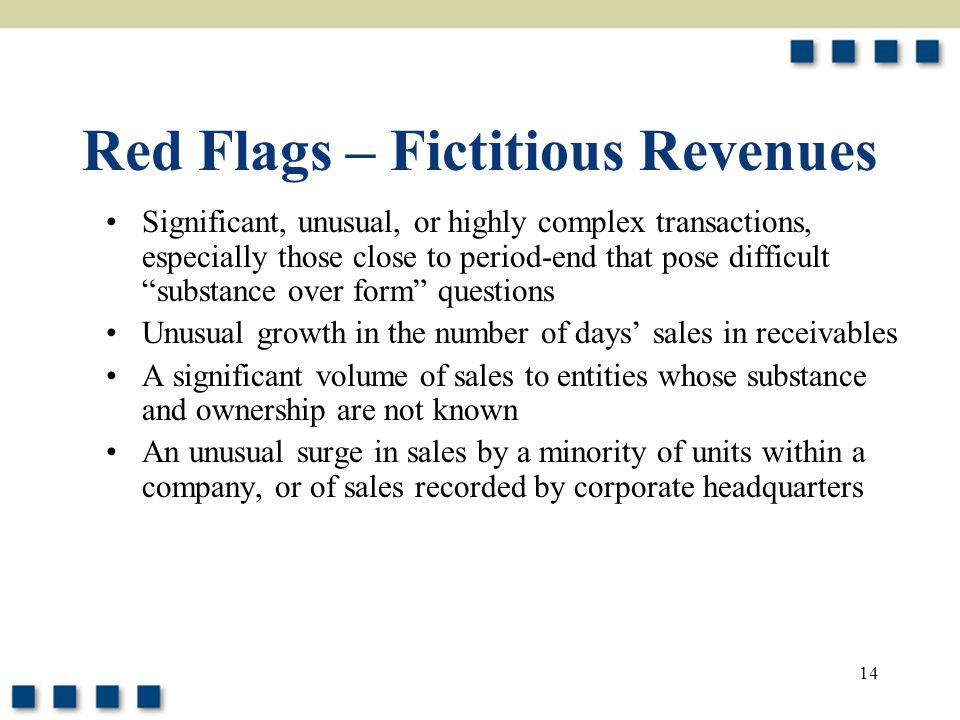 Red Flags – Fictitious Revenues