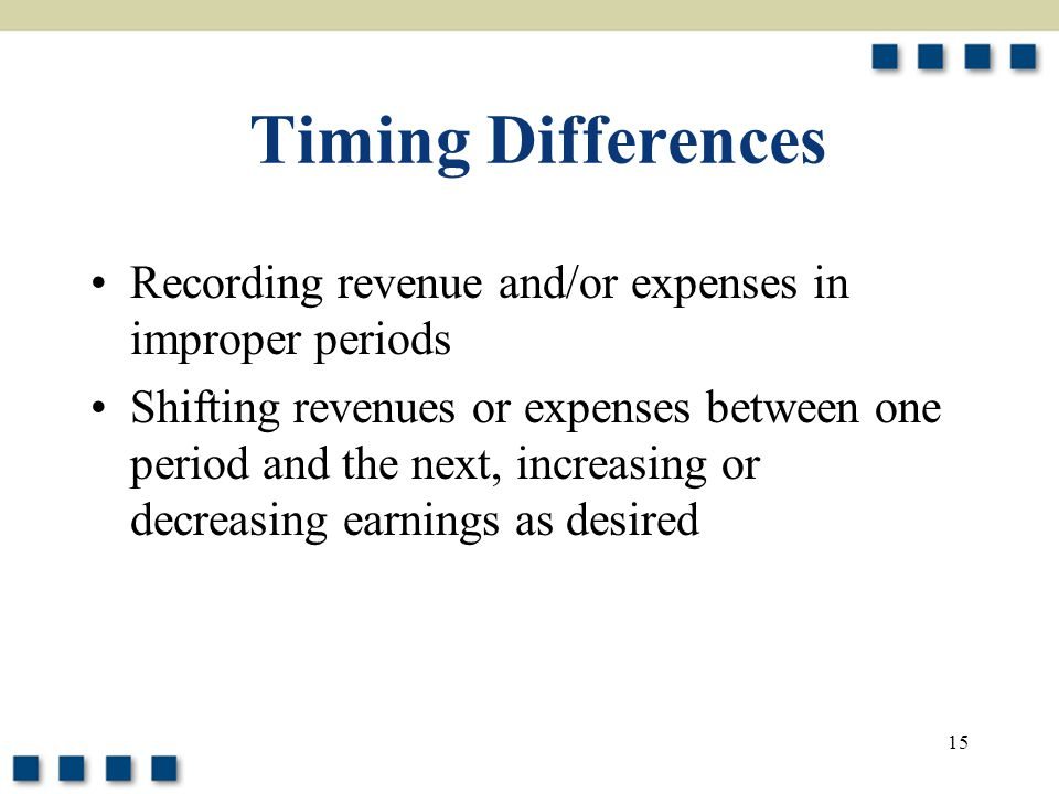 Timing Differences Recording revenue and/or expenses in improper periods.