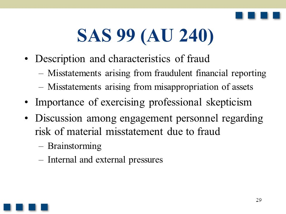 SAS 99 (AU 240) Description and characteristics of fraud
