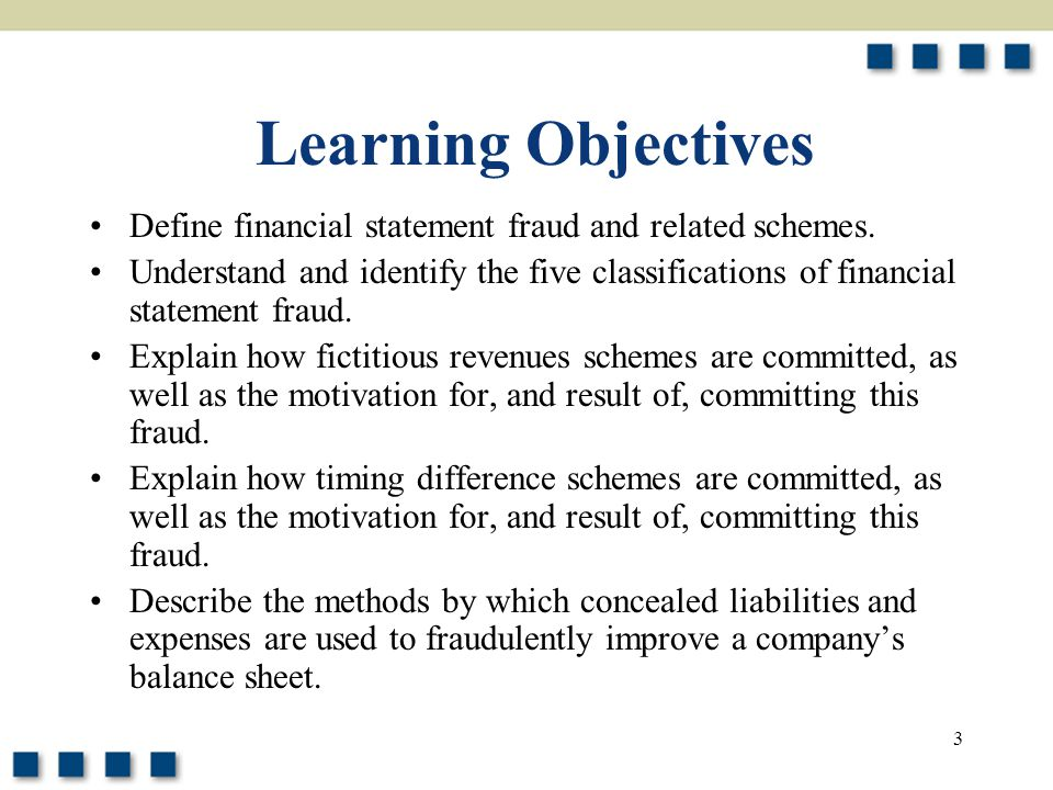 Learning Objectives Define financial statement fraud and related schemes.