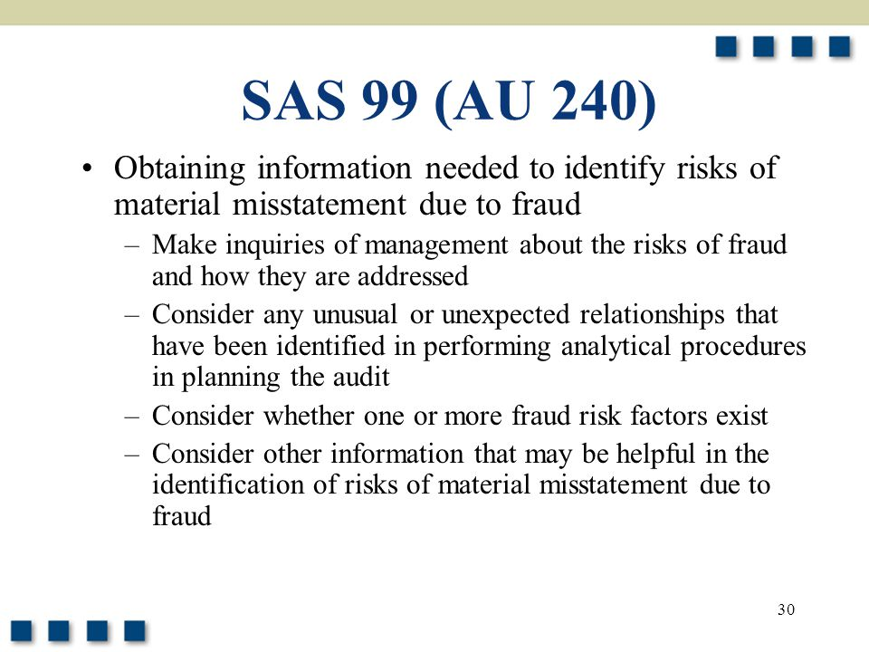SAS 99 (AU 240) Obtaining information needed to identify risks of material misstatement due to fraud.