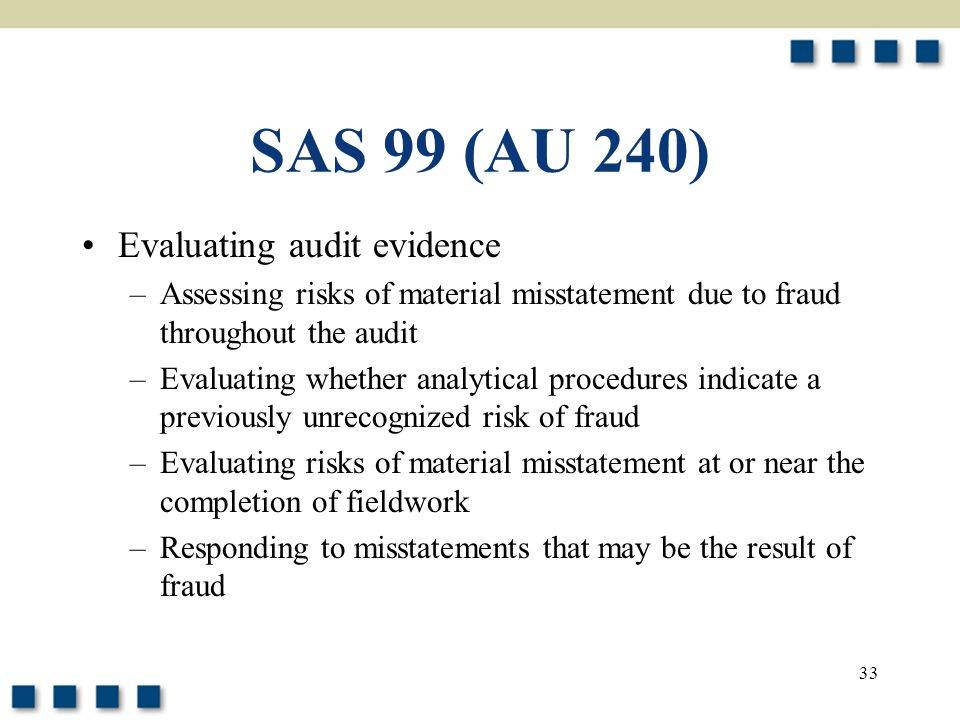 SAS 99 (AU 240) Evaluating audit evidence