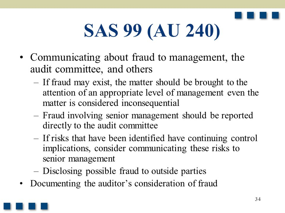 SAS 99 (AU 240) Communicating about fraud to management, the audit committee, and others.
