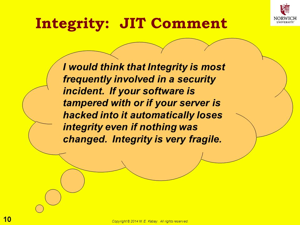 Integrity: JIT Comment