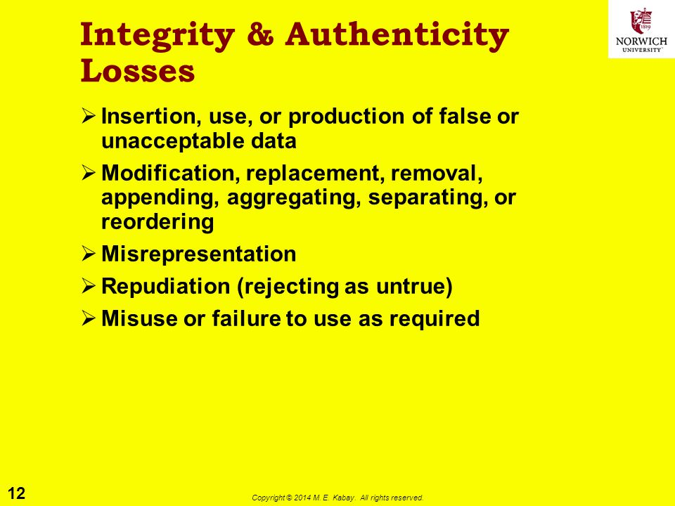 Integrity & Authenticity Losses