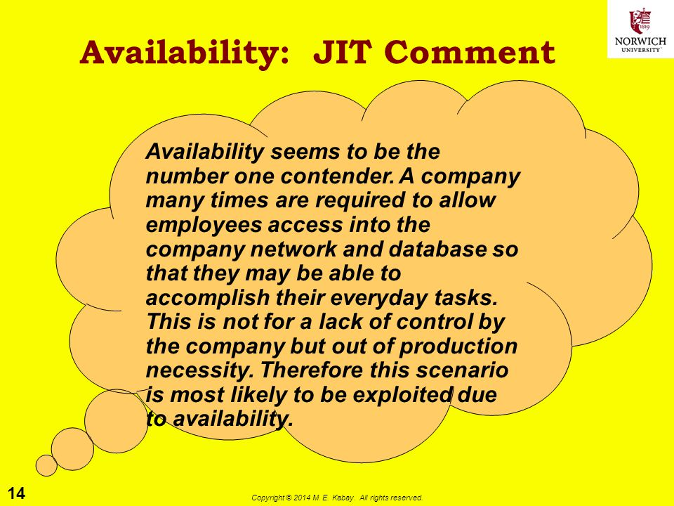 Availability: JIT Comment