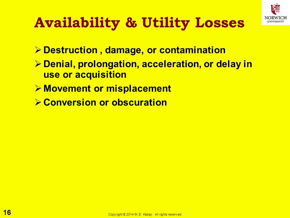Availability & Utility Losses