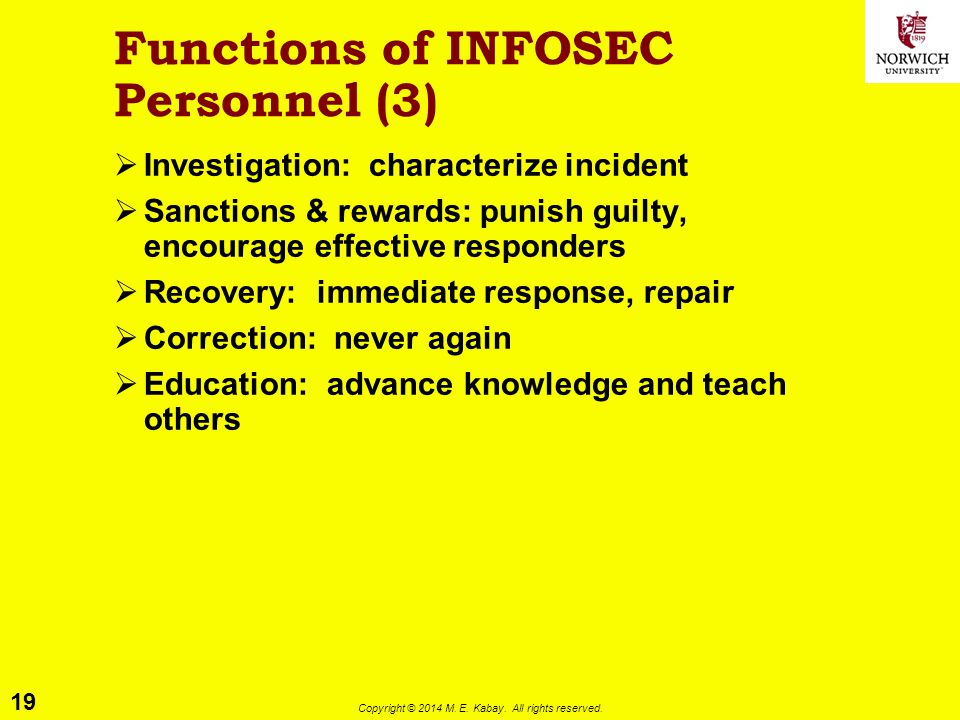 Functions of INFOSEC Personnel (3)