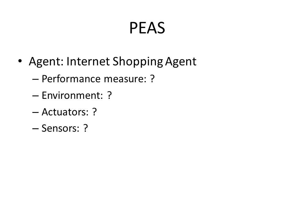 PEAS Agent: Internet Shopping Agent Performance measure: