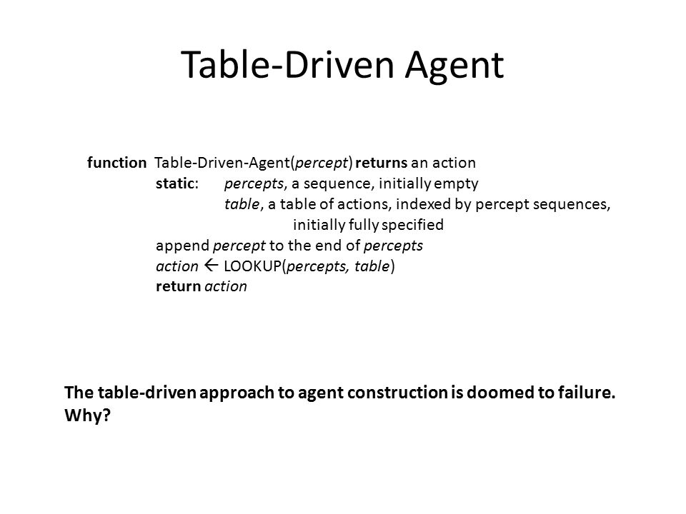 Table-Driven Agent function Table-Driven-Agent(percept) returns an action. static: percepts, a sequence, initially empty.