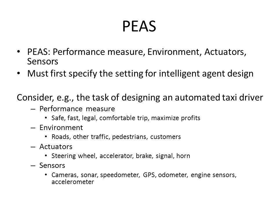 PEAS PEAS: Performance measure, Environment, Actuators, Sensors