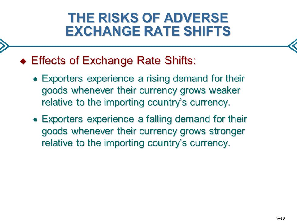 THE RISKS OF ADVERSE EXCHANGE RATE SHIFTS
