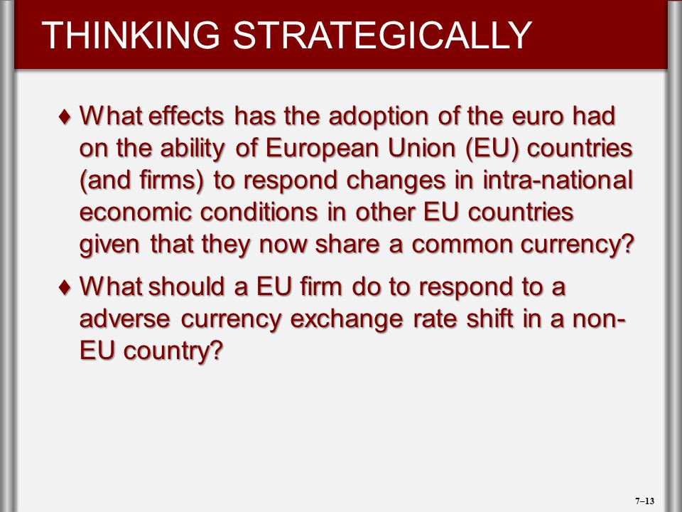 What effects has the adoption of the euro had on the ability of European Union (EU) countries (and firms) to respond changes in intra-national economic conditions in other EU countries given that they now share a common currency