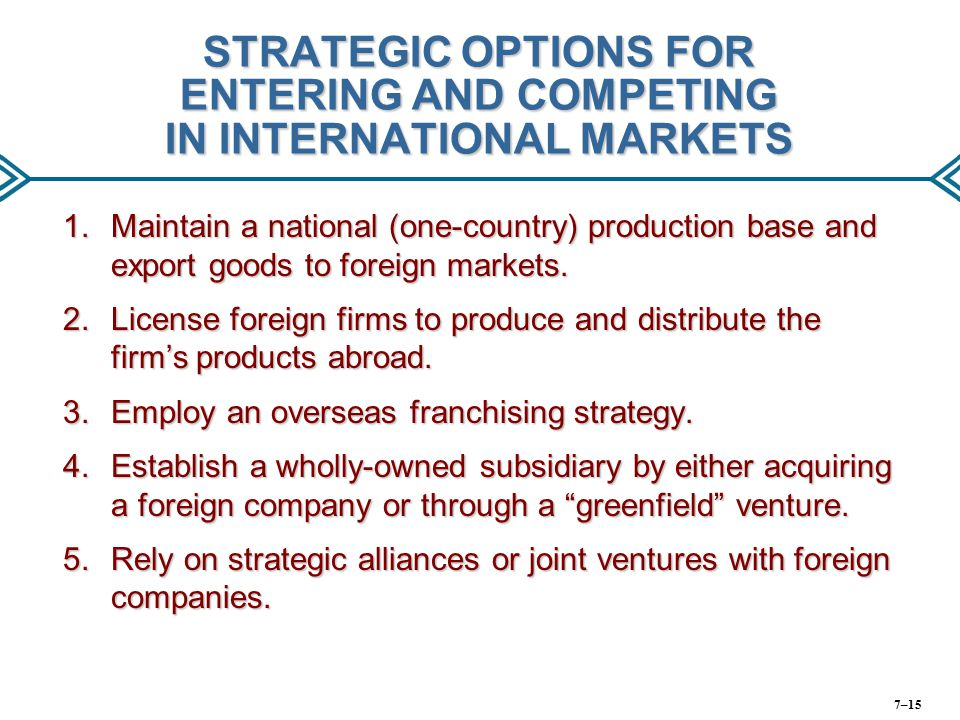 STRATEGIC OPTIONS FOR ENTERING AND COMPETING IN INTERNATIONAL MARKETS