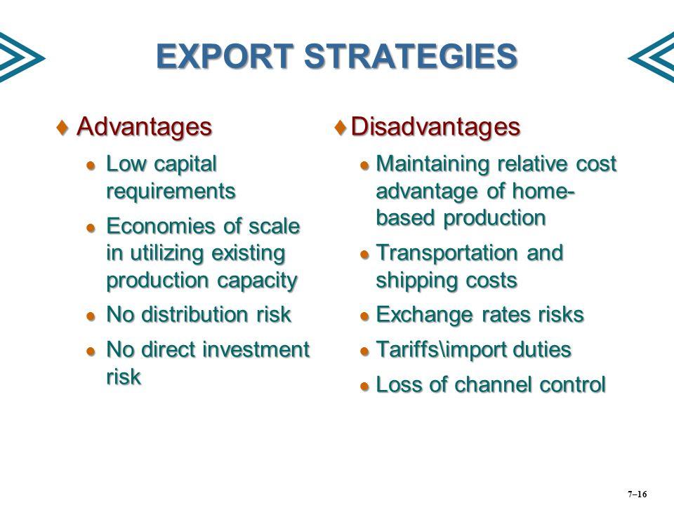 EXPORT STRATEGIES Advantages Disadvantages Low capital requirements