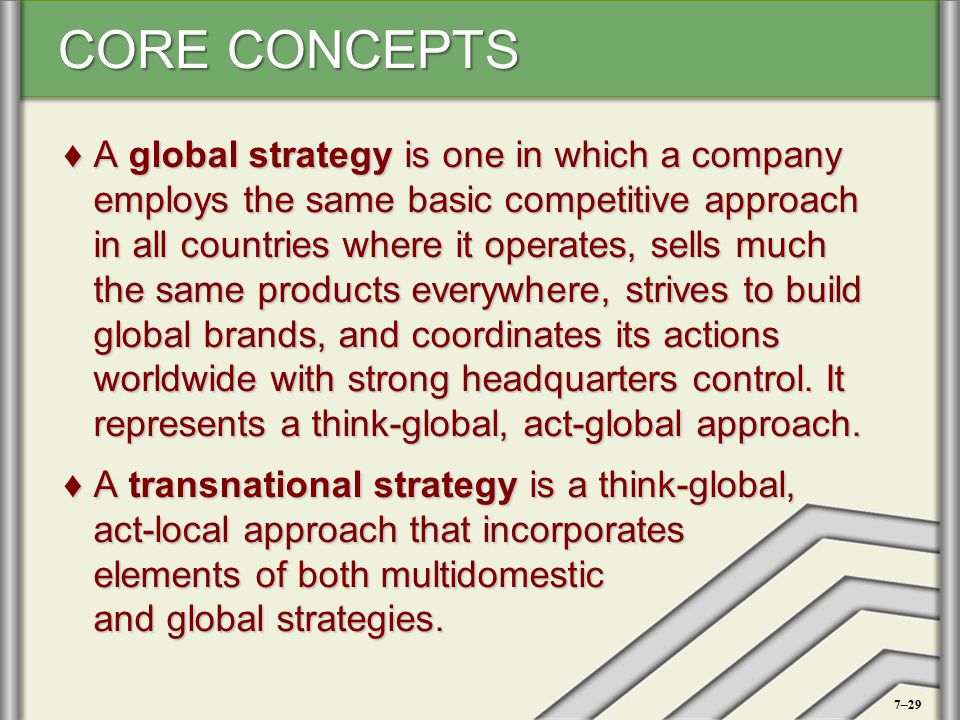 A global strategy is one in which a company employs the same basic competitive approach in all countries where it operates, sells much the same products everywhere, strives to build global brands, and coordinates its actions worldwide with strong headquarters control. It represents a think-global, act-global approach.