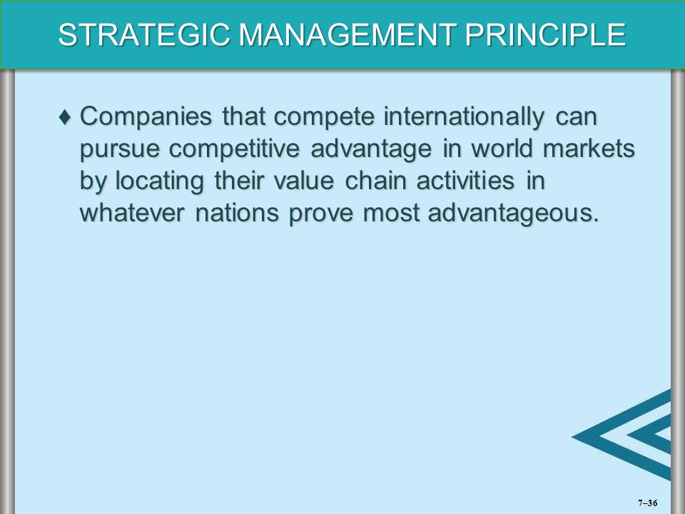 Companies that compete internationally can pursue competitive advantage in world markets by locating their value chain activities in whatever nations prove most advantageous.