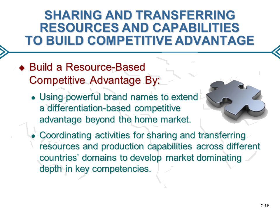 SHARING AND TRANSFERRING RESOURCES AND CAPABILITIES TO BUILD COMPETITIVE ADVANTAGE