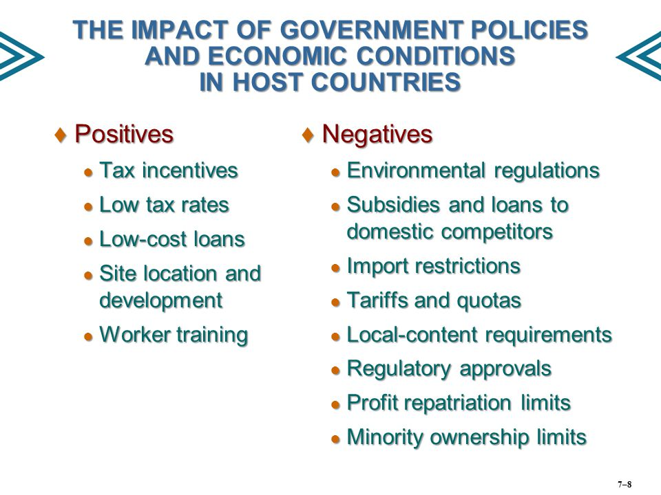 THE IMPACT OF GOVERNMENT POLICIES AND ECONOMIC CONDITIONS IN HOST COUNTRIES