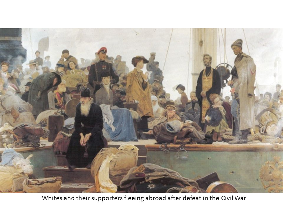 Whites and their supporters fleeing abroad after defeat in the Civil War