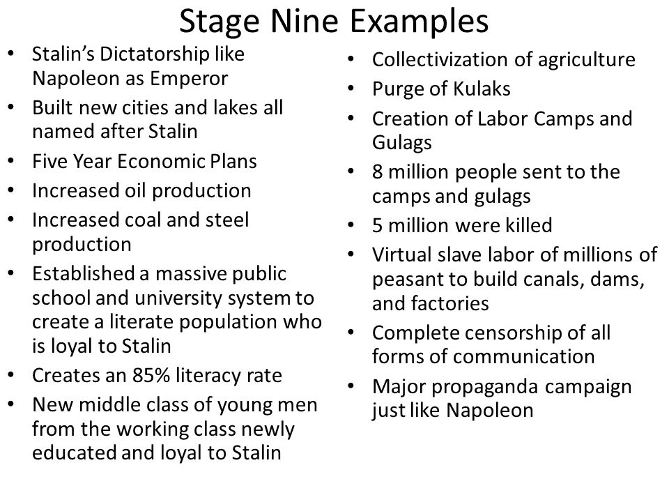 Stage Nine Examples Stalin's Dictatorship like Napoleon as Emperor