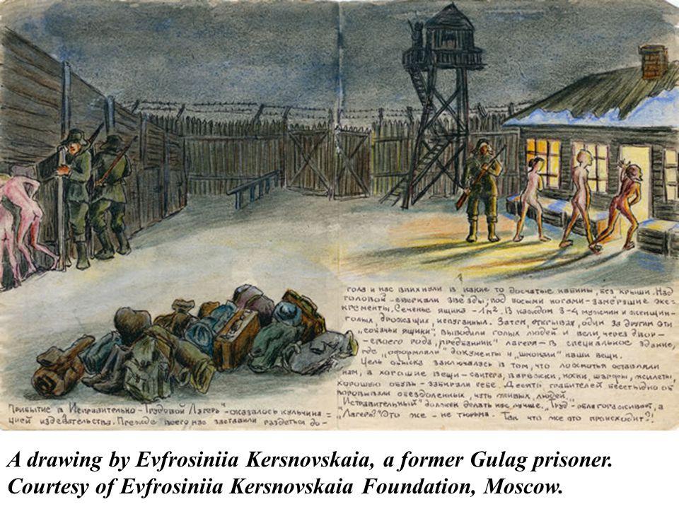 A drawing by Evfrosiniia Kersnovskaia, a former Gulag prisoner