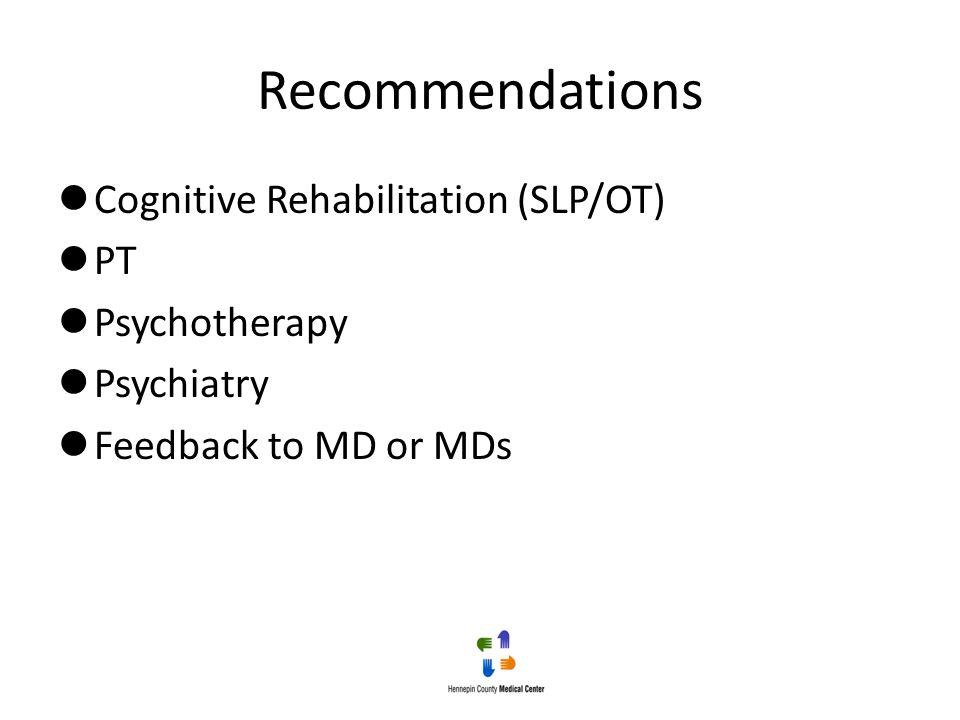 Recommendations Cognitive Rehabilitation (SLP/OT) PT Psychotherapy