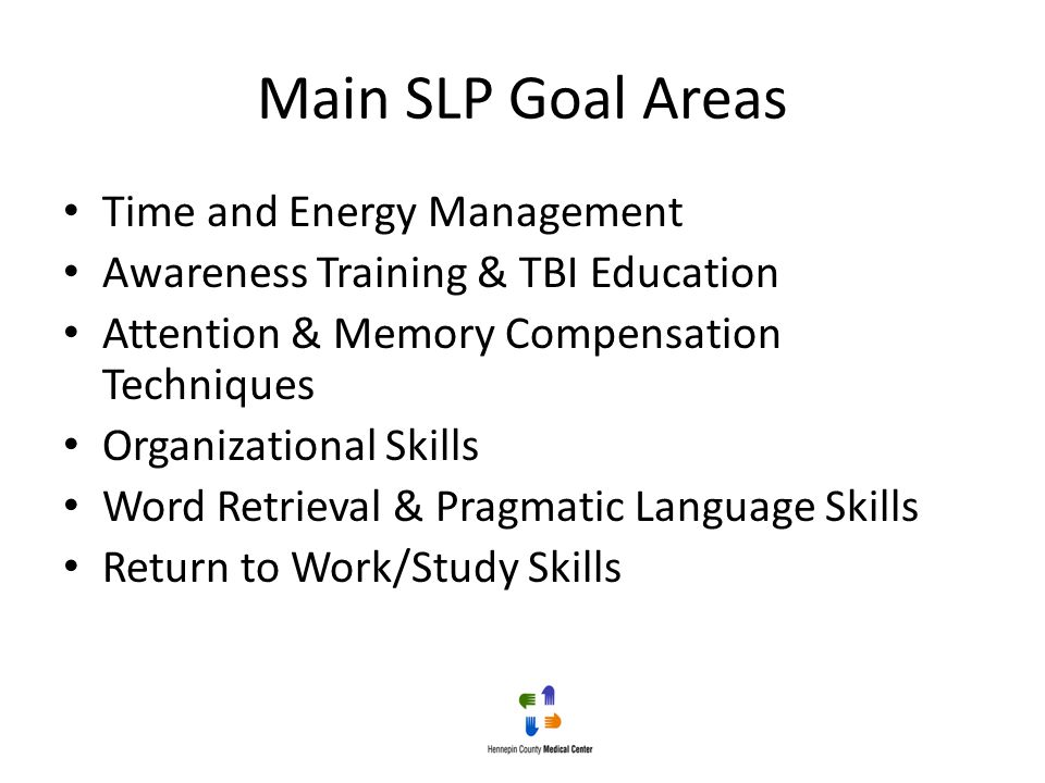 Main SLP Goal Areas Time and Energy Management