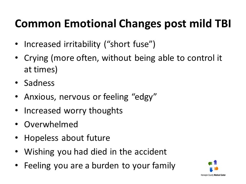 Common Emotional Changes post mild TBI