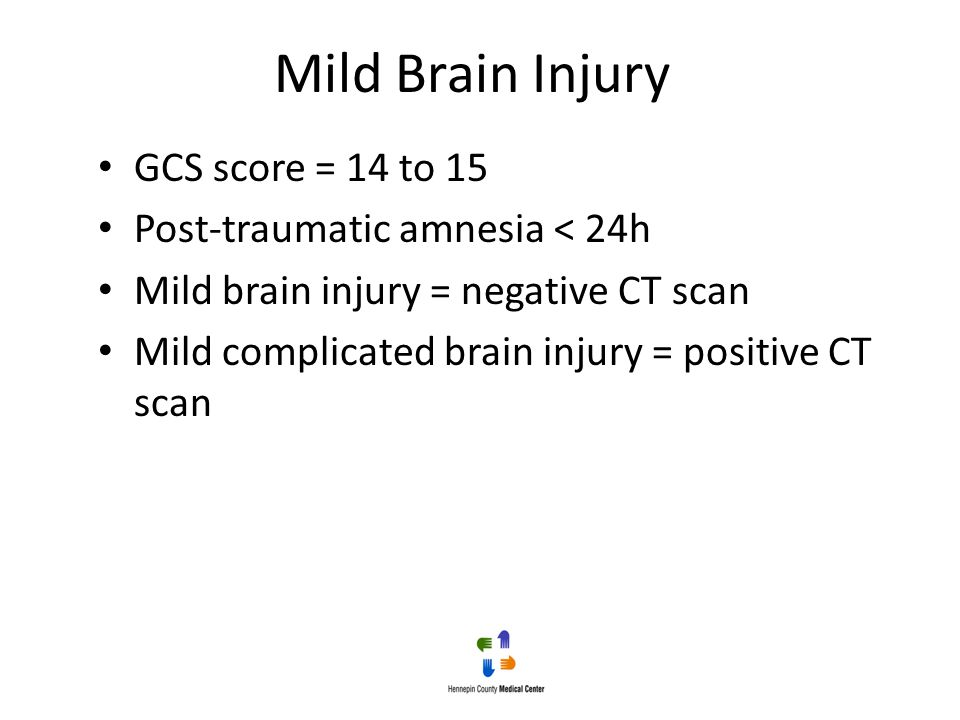 Mild Brain Injury GCS score = 14 to 15 Post-traumatic amnesia < 24h