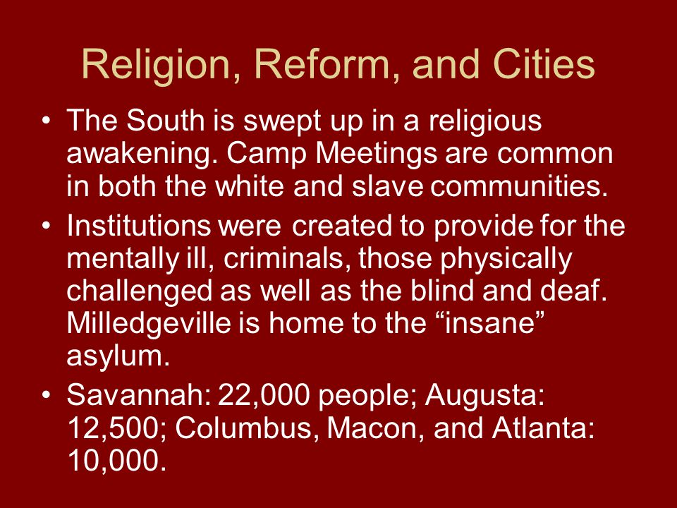 Religion, Reform, and Cities