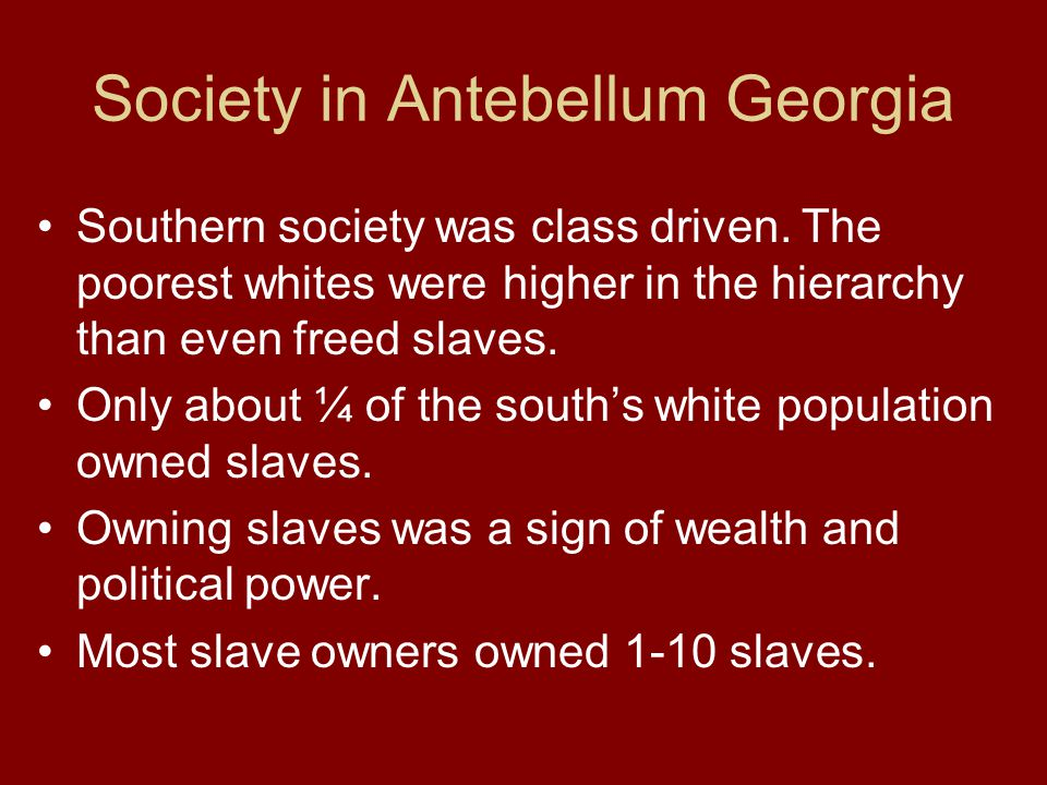 Society in Antebellum Georgia