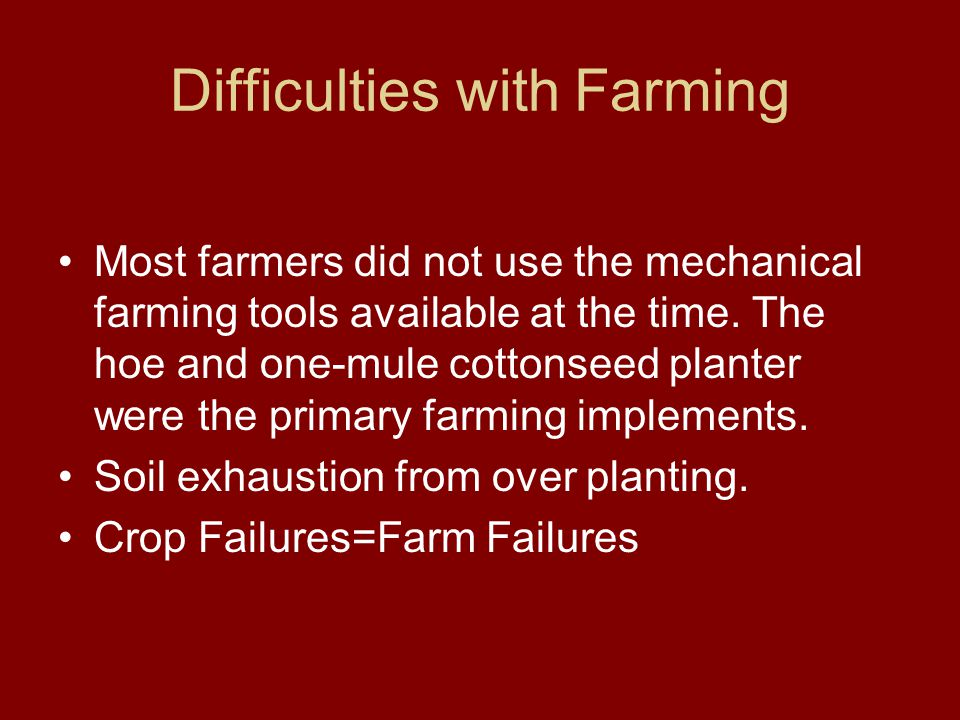 Difficulties with Farming