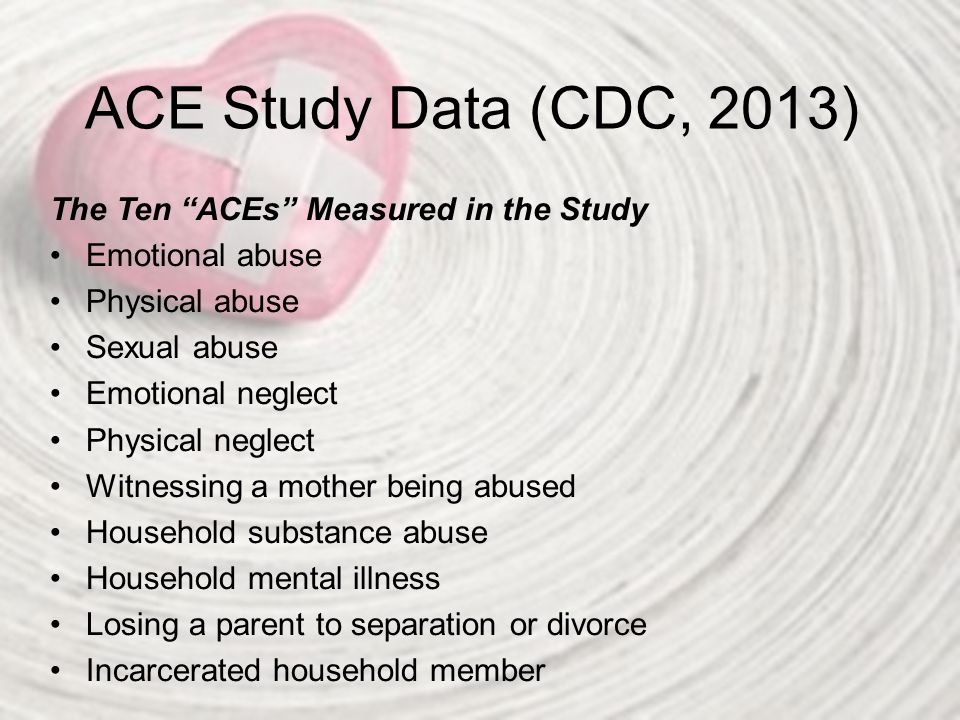 ACE Study Data (CDC, 2013) The Ten ACEs Measured in the Study