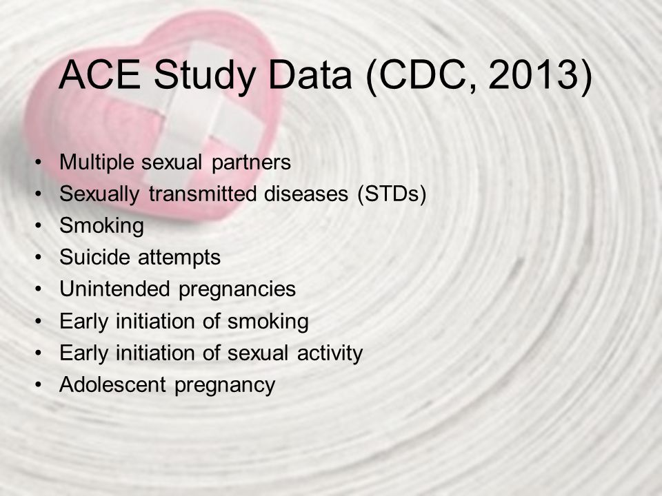 ACE Study Data (CDC, 2013) Multiple sexual partners