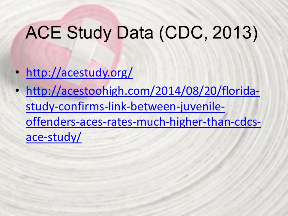 ACE Study Data (CDC, 2013) http://acestudy.org/