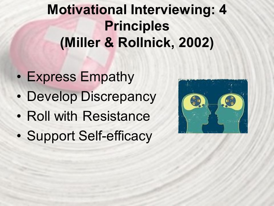 Motivational Interviewing: 4 Principles (Miller & Rollnick, 2002)
