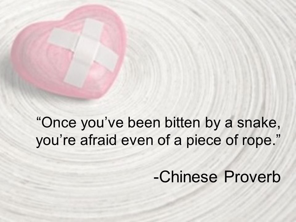 Once you've been bitten by a snake, you're afraid even of a piece of rope. -Chinese Proverb