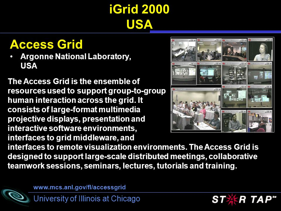 iGrid 2000 USA Access Grid Argonne National Laboratory, USA
