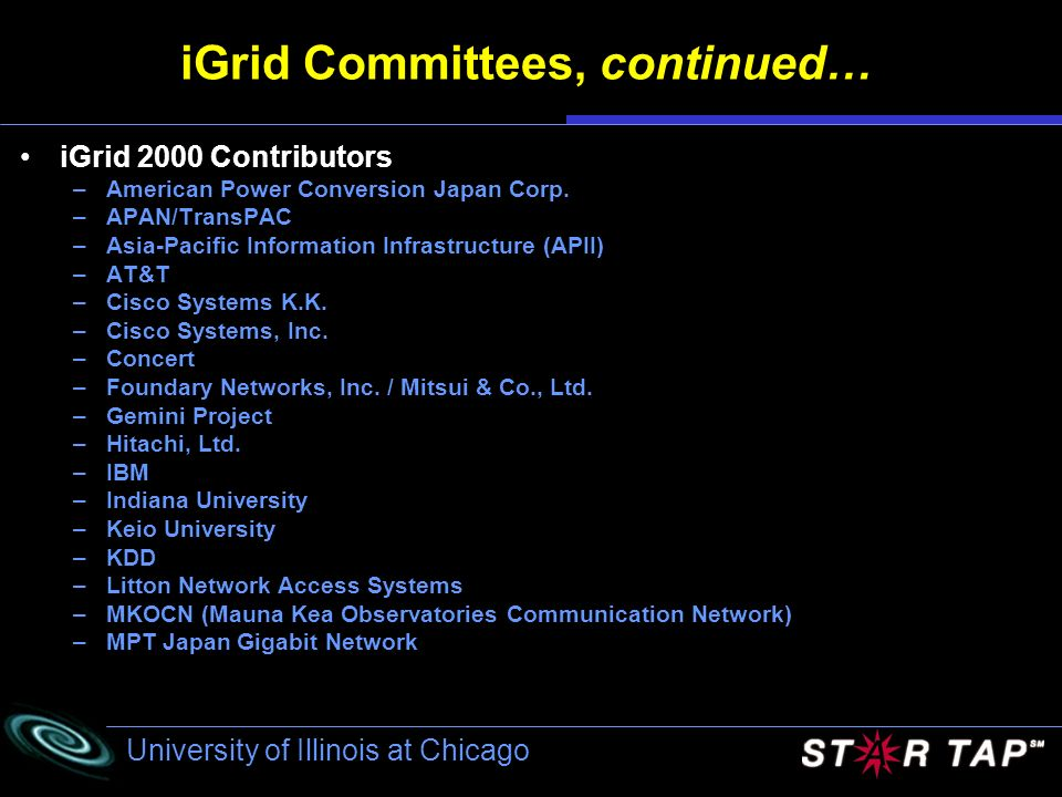 iGrid Committees, continued…