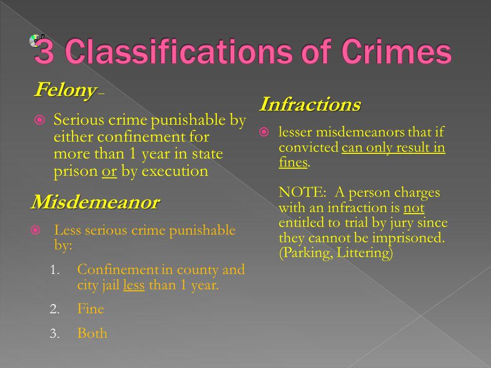 3 Classifications of Crimes