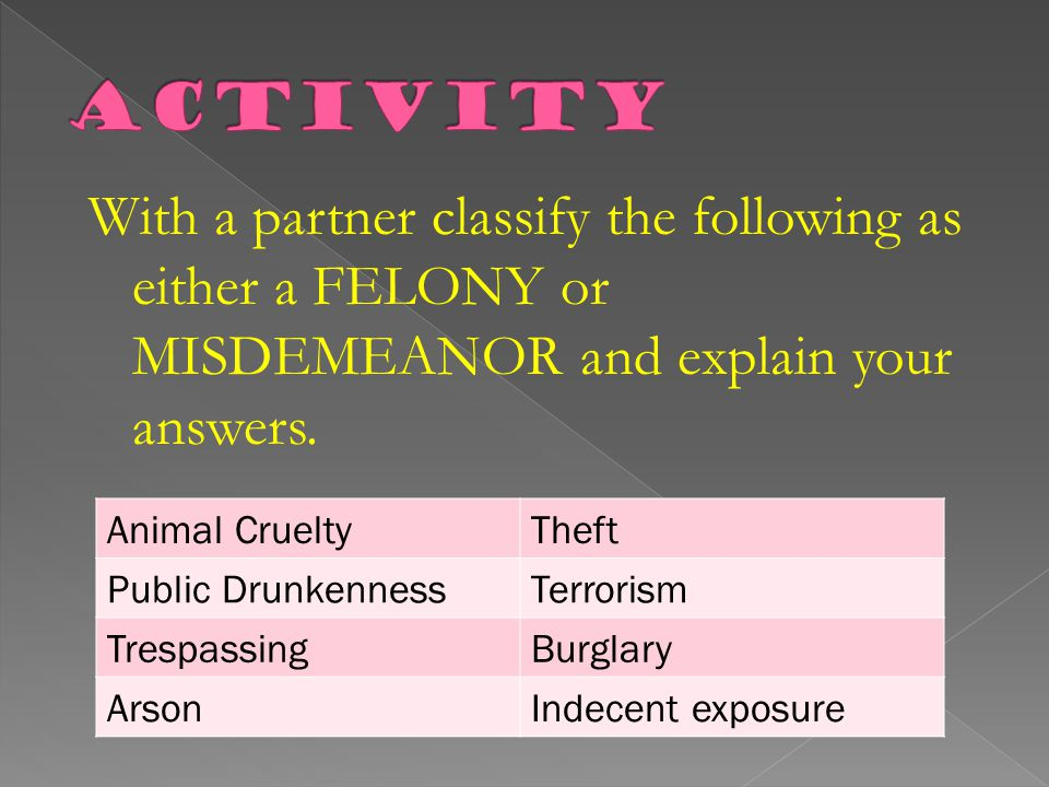 Activity With a partner classify the following as either a FELONY or MISDEMEANOR and explain your answers.