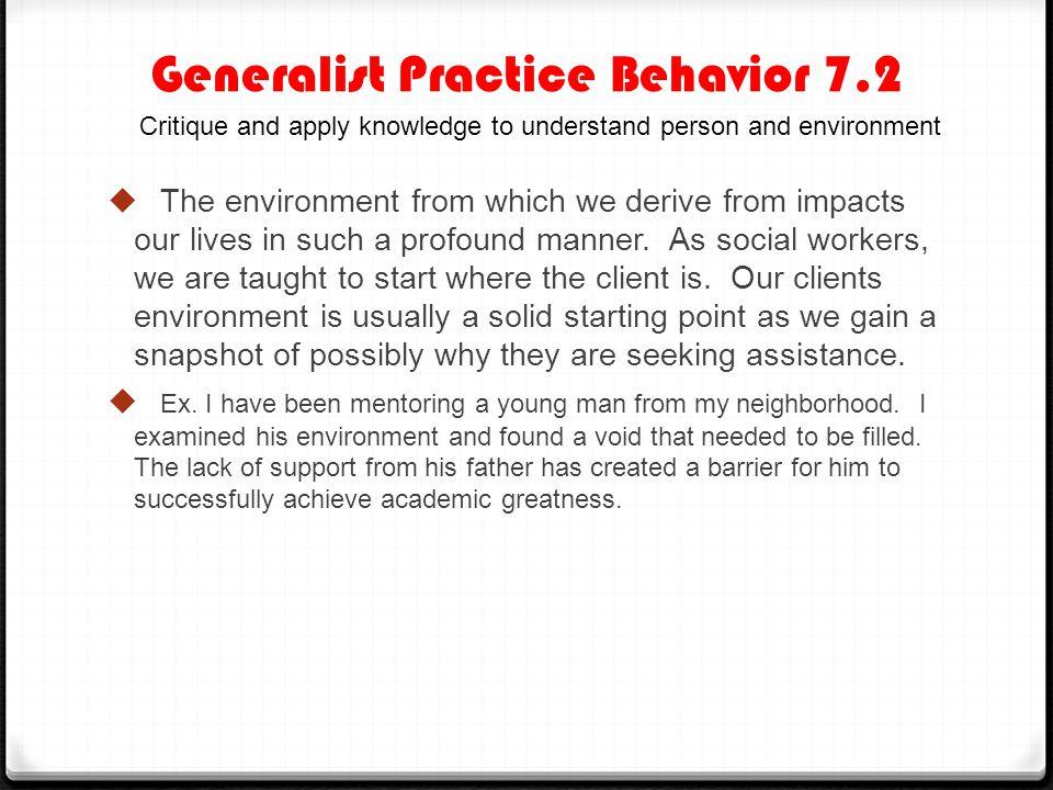 Generalist Practice Behavior 7.2