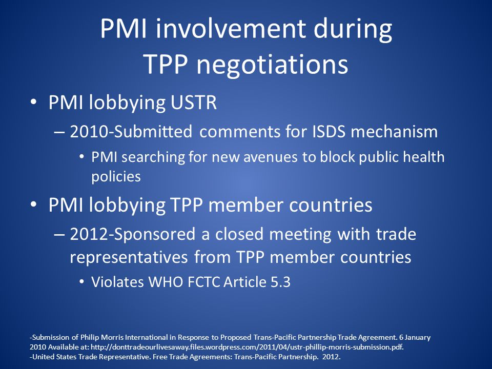 PMI involvement during TPP negotiations