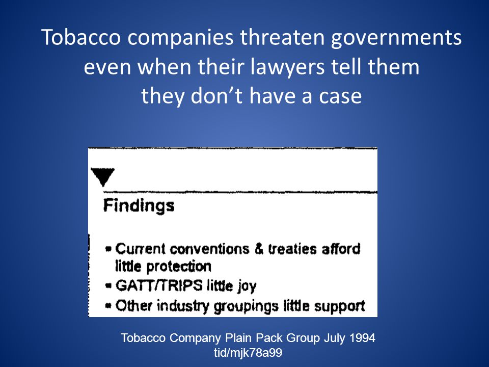 Tobacco Company Plain Pack Group July 1994