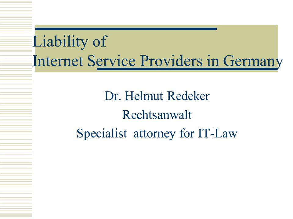 Dr. Helmut Redeker Rechtsanwalt Specialist attorney for IT-Law