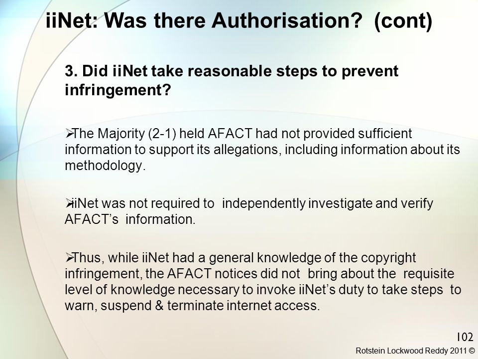 iiNet: Was there Authorisation (cont)